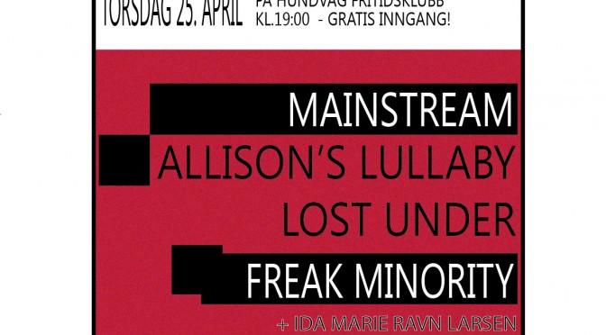 Konsert på Hundvåg Fritidsklubb Torsdag 25 april!